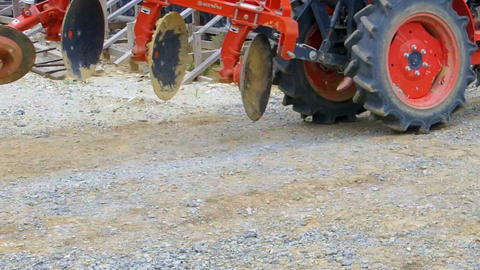 Tractor Running Through The Construction Site stock footage