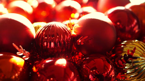 Close Up, Shiny Red And Gold Christmas Ball Mistletoe Ornaments In Morning New Y stock footage