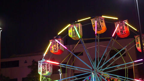 Ferris Wheel Carnival Ride At Night stock footage