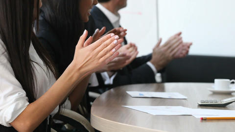 Hands Applauding At Meeting stock footage