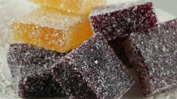 Handmade Sweet Candy Solid Marmalade Sprinkled With Sugar stock footage