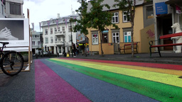 Iceland Reykjavik 065 Rainbow Colors On Asphalt Of Downtown Street stock footage