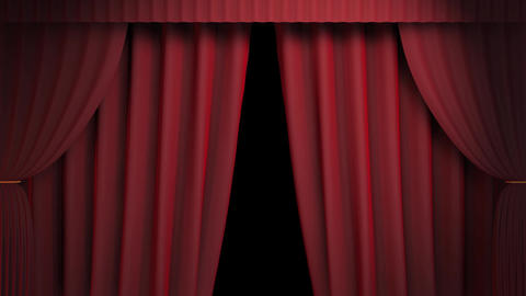3D Red Curtain Reveal stock footage