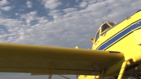 Parked Plane Wing & Propeller stock footage