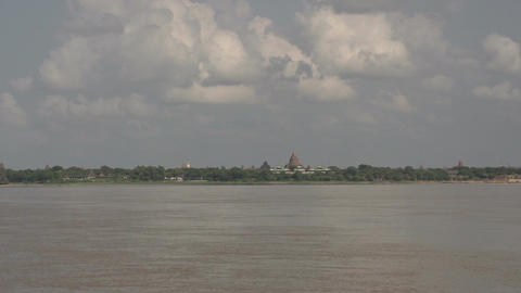 Boating on the Aye Yarwaddy river, view on temples skyline Footage