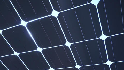 Sun Light Shine Through Solar Cell Roof stock footage
