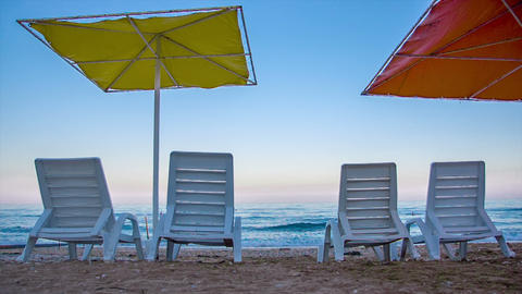 Unbeds And Umbrellas On The Beach stock footage
