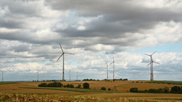 Windmills In Germany In Rural Area stock footage