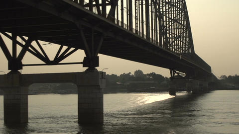 Ayeyarwady river, bridge over the river at sunset Footage