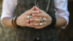 Detail Of A Man's Hands Fidgeting With A Wedding Ring stock footage