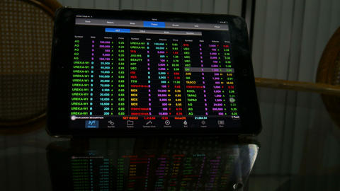 4k footage display of Stock market quotes On-screen tablet Footage