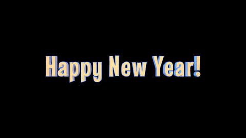 Happy New Year Merry Christmas Epic 3 D Gold Words + Alpha Channel Animation