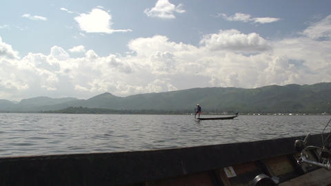 Inle Lake, Leg Rower stock footage