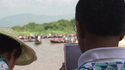 Inle Lake, Man Takes Pictures With Mobile Phone stock footage