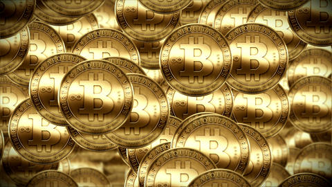Bitcoin rain, Gold coins fallin down Footage