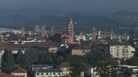 City view of Alba and his unique towers, Italy (2) Footage