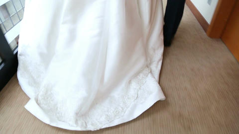 The Bride And Groom Walking Down The Hall In The Hotel stock footage