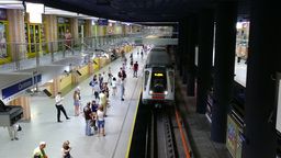 Platform Of Subway Station. Daily Life In Warsaw, Poland stock footage