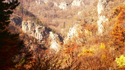 Carpathian Mountains In The Autumn.Monastery In The Mountains Pan Tilt Up stock footage
