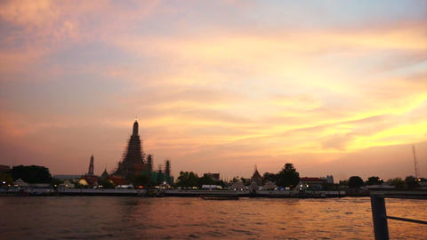 Wat Arun At Sunset, Temple Of The Dawn In Bangkok, Thailand, Chao Phraya River.  stock footage