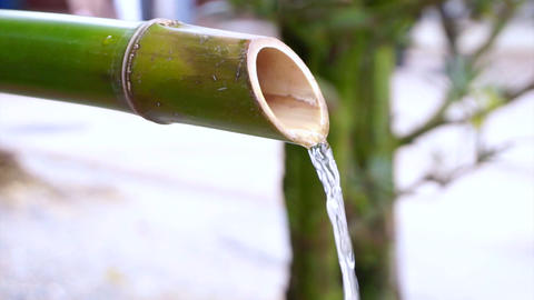 Water Flows From Bamboo Pipe In Japan Footage