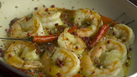 Cooking Shrimps With Rose Pepper stock footage