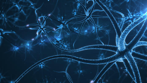 Blue Neurons with electric impulses CG動画素材