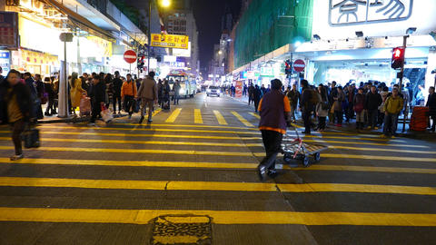 T-view Road Cross, Crowd Of People On Pedestrian Crossing At Night Time stock footage