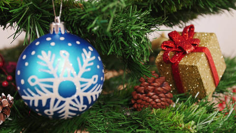 Decoration Of Christmas Tree Blue Ball. Focus stock footage