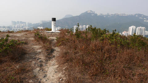 Geodesic mark, triangulation column on top of mountain, Ap Lei Chau island Footage