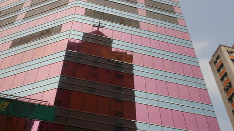 Christian Church Building Silhouette Reflection At Curtain Wall Glass stock footage