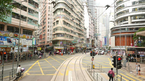 Inner City Junction, Double Decker Bus Cross Johnston Road, Drive To WanChai stock footage