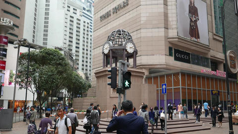 Times Square Major Shopping Centre In Hong Kong, Tilt Up From Clock To Building stock footage
