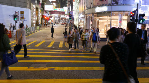 POV Walk Cross Queen's Road, Come To Famous D'Aguilar Street, Night City stock footage