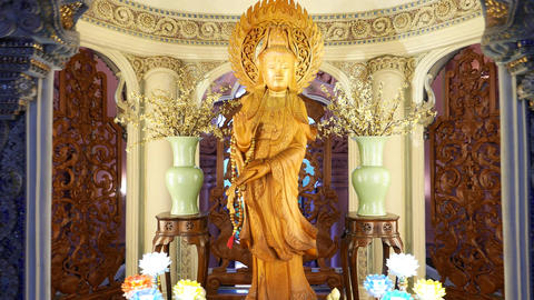 Made From Wood Kuan Yin Sculpture At Erwan Museum Entrance Hall stock footage