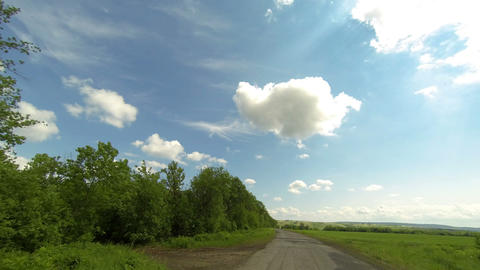 Clouds Over The Road. The Path From Terenga Village, Ulyanovsk Region, Russia, F stock footage