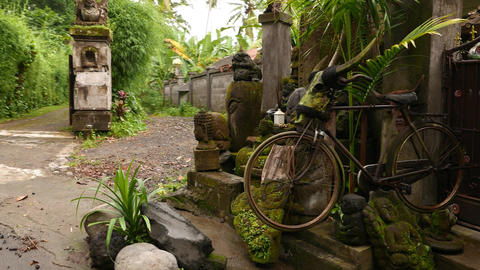 Hand-made decoration in front of Balinese village gate, stone sculptures Footage