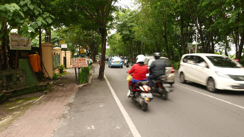 Busy Rural Road Surrounded By Tree Foliage, Rural Balinese Street, Moving Camera stock footage