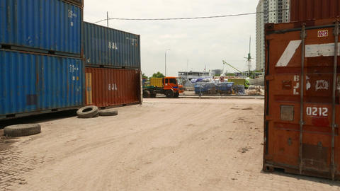 Set Of 20ft Intermodal Containers In Jakarta Old Port, Glide Camera stock footage