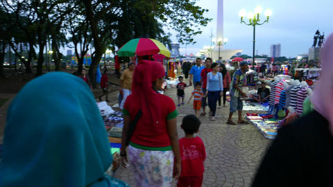 Flea Market In Dusk, Family Visitors, Moving Camera stock footage