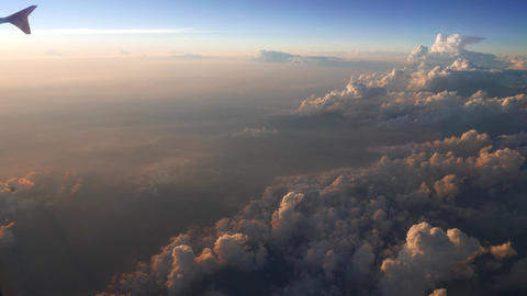 Flying Over End Of Cumulus Clouds Field, Beautiful Evening Lighting, Sunset stock footage