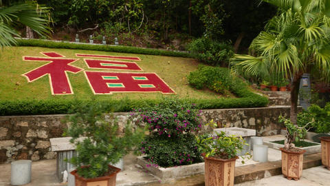 Red big chinese character meaning blessing or fortune, on the grass Footage