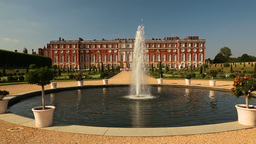 Hampton Court Palace And Fountain On A Sunny Day stock footage