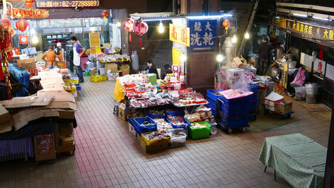 Shop, market and restaurant storage facilities in basement of building at night Footage