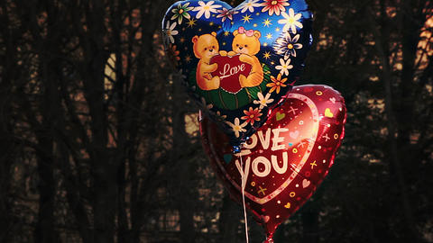 "1080p Heart-Shaped Ballons With Caption ""I Love You"" and Picture of Teddy Bear Footage"