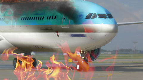 Engine Fighting The Airplane Fire stock footage