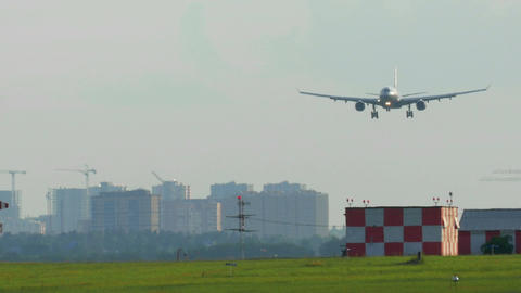 Airplane Landing At The Airport stock footage