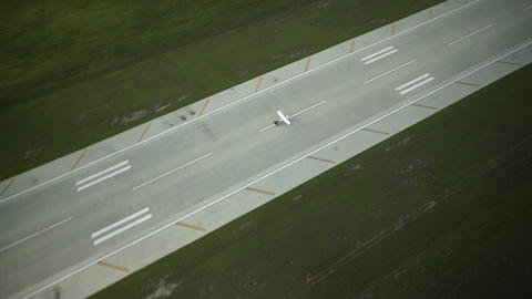 Aerial Shot : Landing Airplane In Airport stock footage