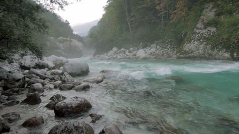 Misty River At Kamp Koren Kobarid, Slovenia stock footage