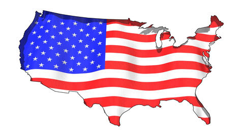 USA Map And American Flag stock footage